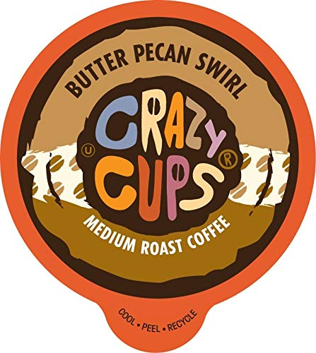 Crazy Cups Flavored Coffee for Keurig K-Cup Machines, Butter Pecan Swirl, Hot or Iced Drinks, 22 Single Serve, Recyclable Pods
