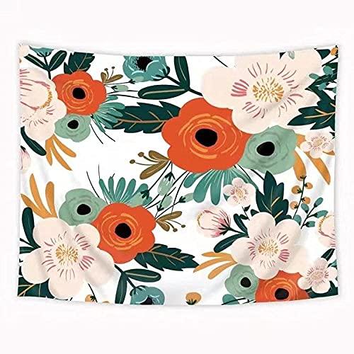 DINGQINGBunte Blumen Wandteppich für Wohnzimmer Schlafzimmer Dekor Blume tropische Pflanze Blätter Print Tapisserie Picknickmatte