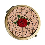 Makeup Mirror 2.75 Inch Bronze Two-sided Handheld Rose 1X & 2X Magnification Stylish Light Small Compact Foldable Travel Mirror