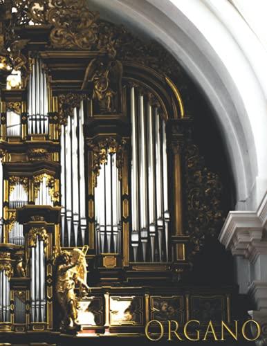 ORGANO: Cuaderno de música para organista - Libro de partituras - Papel manuscrito - Música clásica - 17 pentagramas por página - 111 páginas - Gran formato - Solfeo