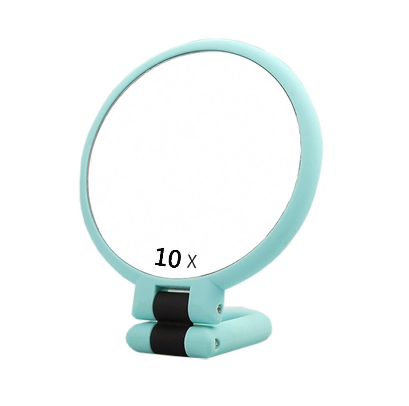 二面鏡 手鏡 ミラー 10倍拡大鏡 折り畳み 等倍鏡 化粧鏡 かがみ 丸型 女優 おしゃれ ハンド コンパクト 携帯ミラー 360度 (lan)