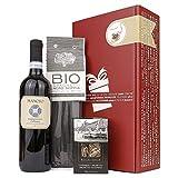 Apropos Geschenk Con Gusto Geschenkset für Gourmets (Rotwein Montepulciano, Bio Spaghetti mit Tintenfischtinte & Gewürzmischung für Pasta)