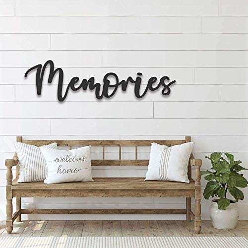 Handmade Memories Sign Metal Word Family Dining Living Room Wall Art Kitchen Cursive Door Art 3D Farmhouse Decor For Parents Color Stable Durable Rugged Finished (CUSTOM OPTION AVAILABLE)