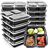 Meal Prep Containers 3 Compartment - Plastic Food Containers for Meal Prepping - Divided Lunch...