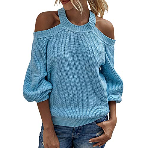 XWLY Women Sweater Sexy Off-Shoulder Solid Color Fashion Trend Classic All-Match Autumn Long Sleeved Elegant Chic Simple Holiday New Women Tops Women Pullover Blue_ L