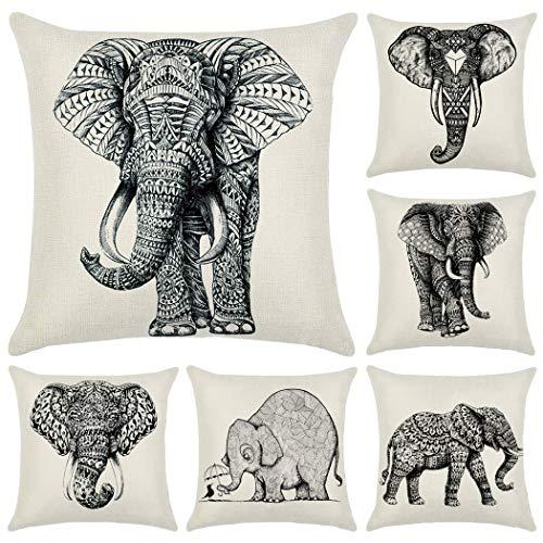 Hodeacc Fundas de cojín de Elefante Hodeacc de 6 Piezas, Funda de cojín Decorativo Elefante Impreso en Blanco y Negro de 18 x 18 Pulgadas,decoración para el hogar,Solo Caso
