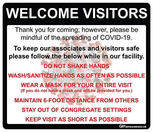 COVID-19 (Coronavirus) Visitor Policy and Procedures- Durable Vinyl Decal (Various Sizes Available) Sign by Graphical Warehouse- Safety and Security Signage, Visual Communication Tool (14x12')