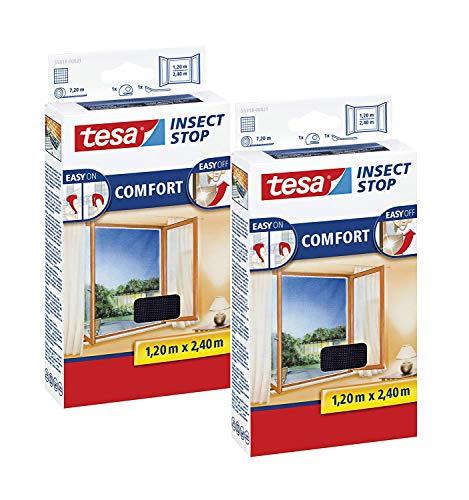 tesa Insect Stop Comfort Fliegengitter für bodentiefe Fenster - Insektenschutz selbstklebend - Fliegen Netz ohne Bohren - anthrazit (durchsichtig), 120 cm x 240 cm (2 Stück)