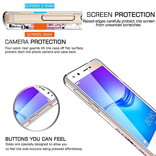 LeYi Hülle Huawei Y6 2017 / Y5 2017 / Y5 II 2017 / Y5 Pro Glitzer Handyhülle mit HD Folie Schutzfolie,Cover Bumper Silikon Treibsand Clear Schutzhülle für Case Huawei Y6 2017 Handy Hüllen ZX Rosegold - 6