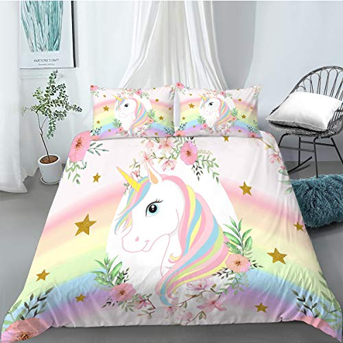MUSOLEI Unicorn Star Duvet Cover Sets King Rainbow Kids Bed Bedding and Pillowcase Pink Flower Quilt Bed Cover Watercolor Zipper Soft Multi-Colour Gift(King)