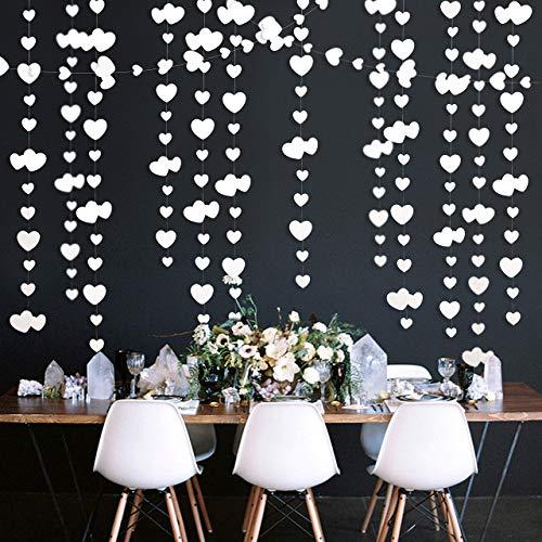 Pink Blume 52Ft Weiß Herz Partyset Doppelseitig Metallisches Papier Banner Streamer für Verlobung Jahrestag Hochzeit Valentinstag Brautparty Dekoration