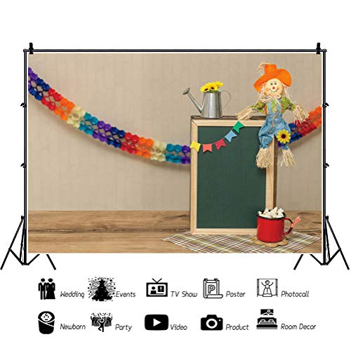 Leowefowa Indoor Thanksgiving Day Photo Booth Backdrop for Photography 12x10ft Colorful Garland Blackboard Kettle Sunflowers Scarecrow Popcorns Vinyl Background Child Baby Photo Booth Props