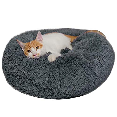 BinetGo Donut Dog Bed Cat Bed Calming Anxiety,Pet Fluffy Bed Donut Cuddler Bed for Small Medium Dog and Cat, Joint-Relief and Improved Sleep – Machine Washable, Waterproof Bottom (Medium, Navy Grey)