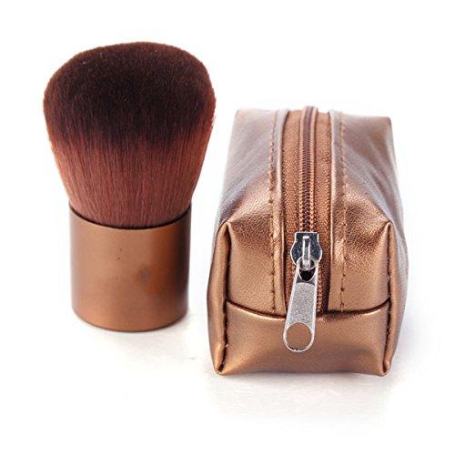 Bluelover Or Soft Maquillage Cosmétique Visage en Poudre Pinceau Mini PU Sac en Cuir