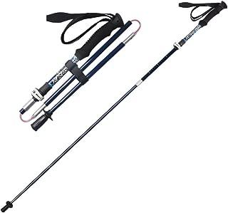 LIXIAO Trekking Pole Folding Carbon Ultralight Telescopic Outdoor Five Carbon Fiber Trail Running Crutch Walking Stick,Darkblue