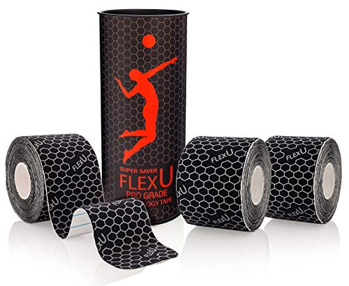 FLEXU Supreme, Kinesiologietape, wasserfestes Sporttape 3 Rollen á 60 Zuschnitte 5 x 25 cm, bietet Unterstützung & Stabilität für Muskeln und Gelenke, während & nach dem Training