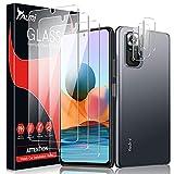 TAURI 6 Pack Protector de Pantalla Compatible con Xiaomi Redmi Note 10 Pro/10 Pro MAX y 3 Pack Cristal Templado y 3 Pack Protector de Lente de Cámara - Sin Burbujas Dureza 9H Kit Fácil instalación