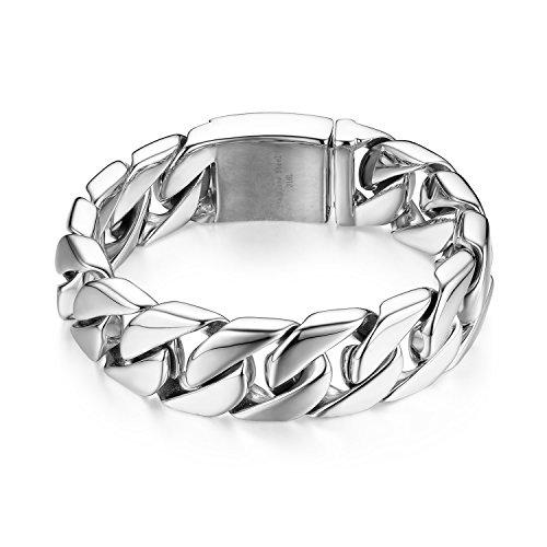 JewelryWe Schmuck Große Schwere Panzerkette Herren Armband, Edelstahl, Biker, Hochglanz Poliert, Silber, kostenlose Gravur