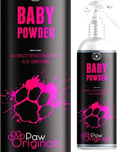 Parfüm Puder für Hunde - 250 ml - Frischer langanhaltender Talkum Geruch bis zu 3 Tagen und Aloe Vera Sprüh-Conditioner zum entfilzen. Alkoholfreies Hundeparfüm, Fellpflegespray Entwirrungsspray