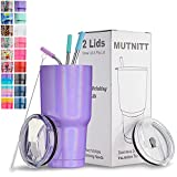 30 oz Tumbler with Lids and Straws,18/8 Stainless Steel Vacuum Insulated Tumbler,Insulated Coffee Mug Water Cup with Leak-Proof Straw Lid & Flip Lid,3 Metal Straws,1 Cleaning Brush(Sparkle Purple)