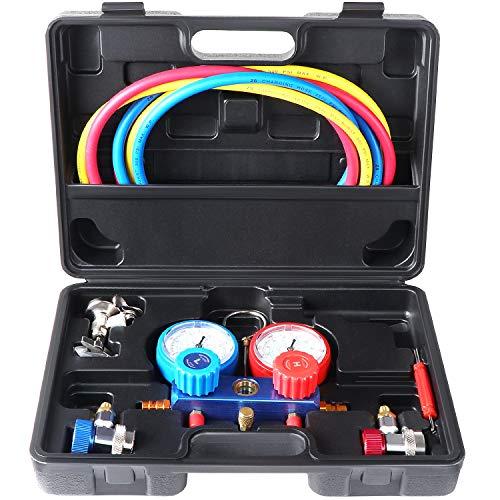 HSEAMALL Auto R134a Kältemittel-Verteiler-Messgeräteset, AC-Diagnosewerkzeuge mit 1,5 m Langen Ladeschläuchen für Autoklimaanlagen