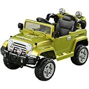Aosom 12V Kids Electric Ride On Car Toy Truck with Remote Control 2 Speeds Lights MP3 LCD Power Indicator, Green