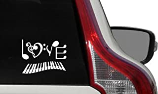 Music Note Love Text Piano Keyboard Car Vinyl Sticker Decal