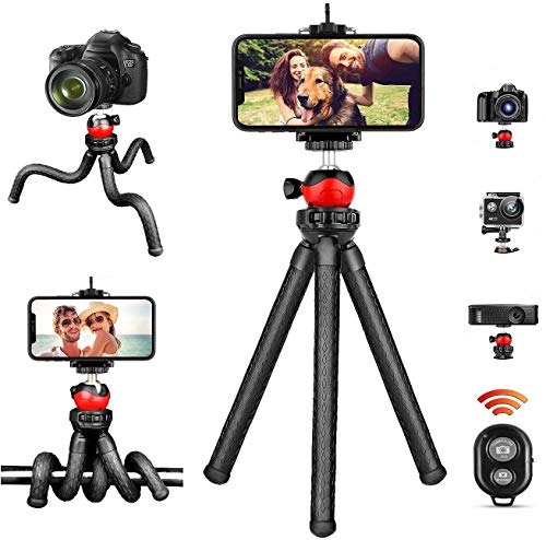 Phone Tripod, Flexible iPhone Tripod and Portable Adjustable Tripod with Wireless Remote, Mini Travel Tabletop Tripod Camera Stand Compatible for iPhone Android Sumsung DSLR Camera GoPro