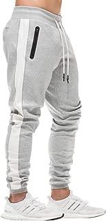 MECH-ENG Men's Workout Joggers Stripe Gym Pants Slim Fit Sweatpants Zipper Pocket