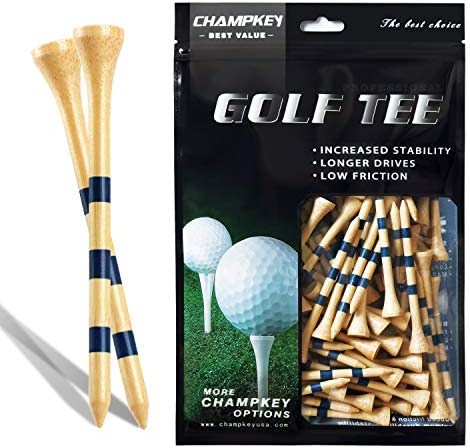 CHAMPKEY SDB Bamboo Golf Tees Pack of 120 (2-3/4″ & 3-1/4″ Available) – Friendly Biodegradable Material, More Durable and Stable
