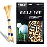 """Champkey SDB Bamboo Golf Tees Pack of 120 (2-3/4"""" & 3-1/4"""" Available) - Friendly Biodegradable Material, More Durable and Stable (Natural, 3-1/4 Inch)"""