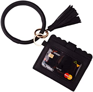Lantintop Multifunctional Bangle Key Ring Card Holder PU Leather Round Keychain With Matching Wristlet Wallet For Women Girls