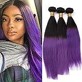 #1B/Purple Ombre Straight Brazilian Human Hair Bundles Deals Silky Straight Ombre Purple Human Hair Weave Extensions 3/4 Bundles Lot Black to Purple Ombre Virgin Hair Wefts (12 12 12)