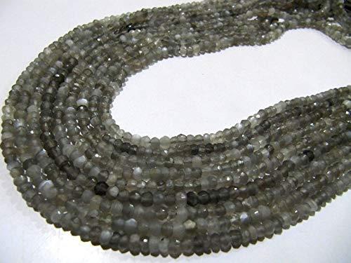 Shree_Narayani Natural gris piedra lunar Rondelle cuentas facetadas 3-4mm Strand 13