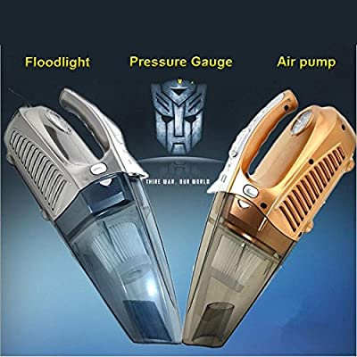 4-in-1 Handheld Auto Car Vacuum Cleaner Portable Wet/Dry 12V 100W Tire Inflator Pump Pressure Gauge 150 PSI with LED light