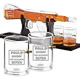 Maverton Whisky Karaffe mit Gravur - in Gewehrform 800 ml - 4er Whiskygläser Set - Whisky Dekanter - Geschenk für Männer zum Geburtstag - personalisiert - Waffe