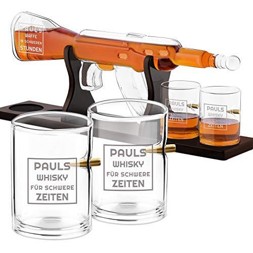Murrano Whisky Karaffe mit Gravur - in Gewehrform 800 ml - 4er Whiskygläser Set - Whisky Dekanter - Geschenk für Männer zum Geburtstag - personalisiert - Waffe