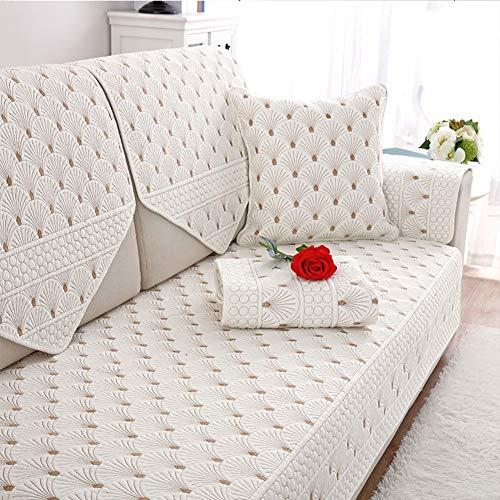 Katoenen anti-slip sofa-bescherming afdekking hele seizoen verdikt u sofahoes volle kleur voor L-vormige bank hoekbank