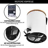 VMbathrooms 3L Kosmetikeimer in edlem weißem Design/Tretmülleimer mit Absenkautomatik (Soft Close) / Eleganter Eimer fürs Bad mit Innenbehälter und Bambus-Holzdeckel - 2