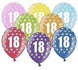 Libetui 10 kunterbunte Luftballons 18 Jahre Metallic 30cm Deko zum 18. Geburtstag Party Happy Birthday Dekoration (Zahl 18)