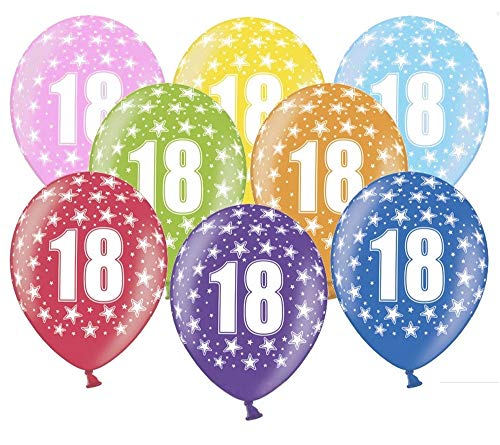 Libetui 10 kunterbunte Luftballons 18 Jahre Metallic 30cm Deko zum 18. Geburtstag Party Happy Birthday Dekoration Nummer 18