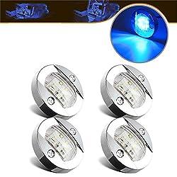 powerful Partsam 4Pcs 3 ″ Round Chrome Marine Clear Lens Blue LED Mirror Anchor for Rear Mount…
