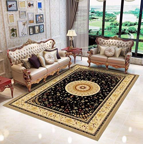 LJN_Home Mehrfarbi DesignKlassisch bedruckter schwarzer Teppich Sofa Couchtisch Schlafzimmer Nachttisch rutschfeste Abriebfeste Matte, 120 × 180cm