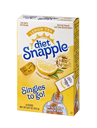 Diet Snapple Singles To Go Water Drink Mix - Lemon Tea Flavored Powder Sticks (12 Boxes with 6 Packets Each - 72 Total Servings)