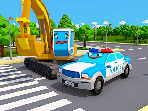 Polizeiauto und Bagger