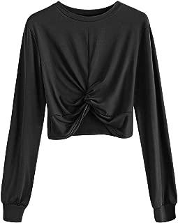 ZAFUL Women's Knot Twist Front Plain Shirt Long Sleeve Crop Top Sweatshirt Pullover