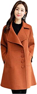 neveraway Women's Classy Swing Notch Collar Coat Button Woolen Parka Jacket