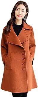Howely Women's Woolen Elegent Swing Single Breasted Lapel Parka Jacket