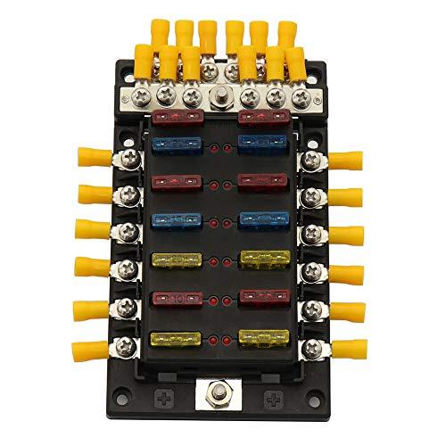DFYYQ Soporte de Caja de fusibles de 12 vías de Coche 100A con indicador LED 12V-32V para automóviles en Barco Marino