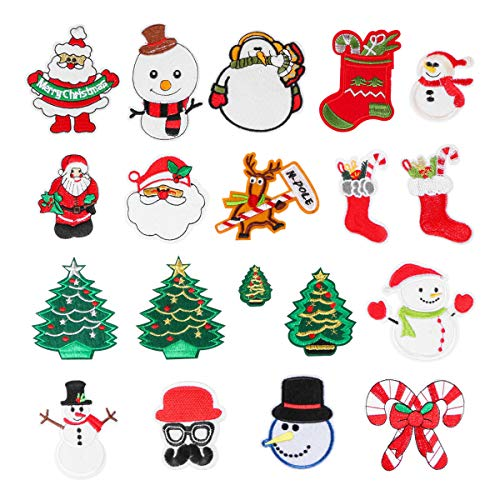 19 Piece Christmas Embroidery Patches Iron on or Sew-on Santa Snowman Tree Gift Socks Elk Crutches Lollipop Patches Applique by Aooba
